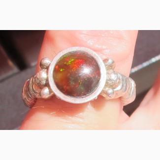 Серебряный перстень Атланты, серебро 925 проба, огненный агат, авторская работа