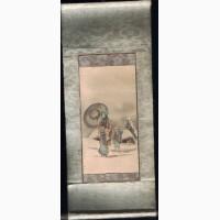 Старинная японская миниатюрная акварель размером 8, 5х6, 5 см. XIXв