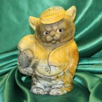 Кот Вольт авторская работа из натурального камня бизнес сувенир, эксклюзивный подарок