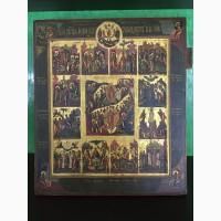 Старинная икона Праздники XIX век