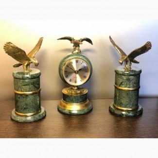 Часы настольные, пепельница, зажигалка - комплект VIP бронза, змеевик