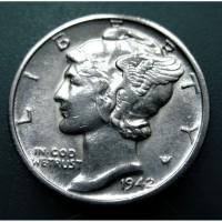 Редкий, серебряный дайм США 1942 года