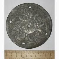 Китайский бронзовый нагрудный диск китайского воина, старинный