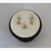 Продается Комплект. Золотое кольцо и серьги с бриллиантами 0, 1ct Butterfly