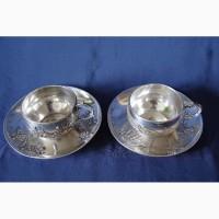 Две великолепные чайно-кофейные пары из серебра 950 пробы в стиле Ар-Нуво. Франция, XIXв