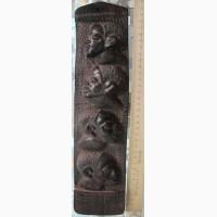 Настенное деревянное панно Лица Африки, железное дерево, Африка