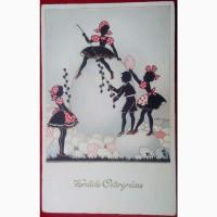 Редкая открытка. Модерн Счастливой Пасхи 1931 год