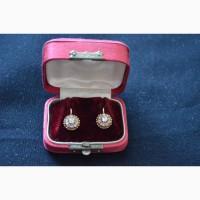 Серьги старинные золото 56(585) бриллианты