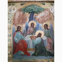 Икона Живоначальная Троица, на золоте, киот, 19 век