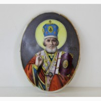 Продается Икона Святитель Николай Чудотворец. Фарфор. XIX век