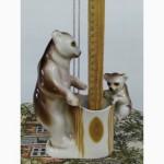 Фарфоровая статуэтка ссср медведи, медведица с медвежонком, карандашница салфетница