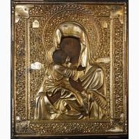 Старинный образ Пресвятой Богородицы «Владимирская» в серебряном окладе. Москва, 1896 г