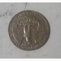 Продам монету liberty quarter dollar 1988г, перевертыш