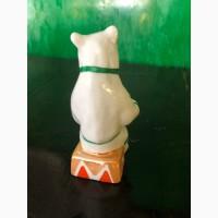 Статуэтка Цирковой медведь с гармошкой Дулево 1987 г. 13.8 см