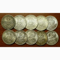 21 серебряная монета Германской империи 1899-1914 г