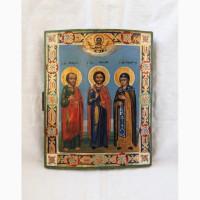 Продается Икона Св. ап. Павел, Св. бес. Косма, Св. пр. Евдокия конец XIX века