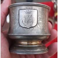 Серебряный подстаканник с монограммой, серебро 84 проба, царская Россия