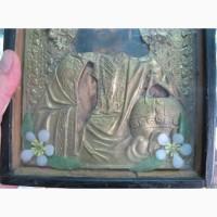 Икона Вседержитель, латунный оклад, киот, 19 век
