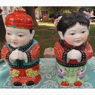 Китайские фарфоровые статуэтки Мальчик и Девочка, пара, фарфор Китай