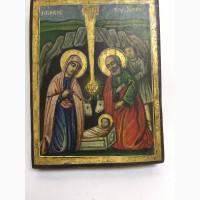 Старинная икона Рождества Христова Палестина 19 век