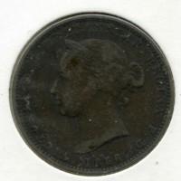 Монета редкая 1/13шиллинга 1866г островного государства Джерси