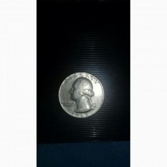 Продам редкую монету перевертыш США QUARTER DOLLAR LIBERTY 1968 год