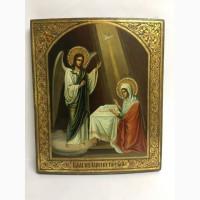 Старинная икона «Благовещение Пресвятой Богородицы» Вторая половина 19 века