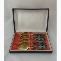 Продаются Серебряные кофейные ложки с эмалью по скани. Ленинград 1961 год