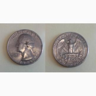 Продам монету Liberty quarter dollar 1987 год перевертыш
