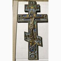 Крест-распятие напрестольный большой, 6 цветов эмали, 19 век
