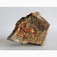 Крокоит, пироморфит, кристаллы на породе