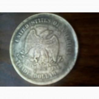 Монета торговый доллар 1876 года США