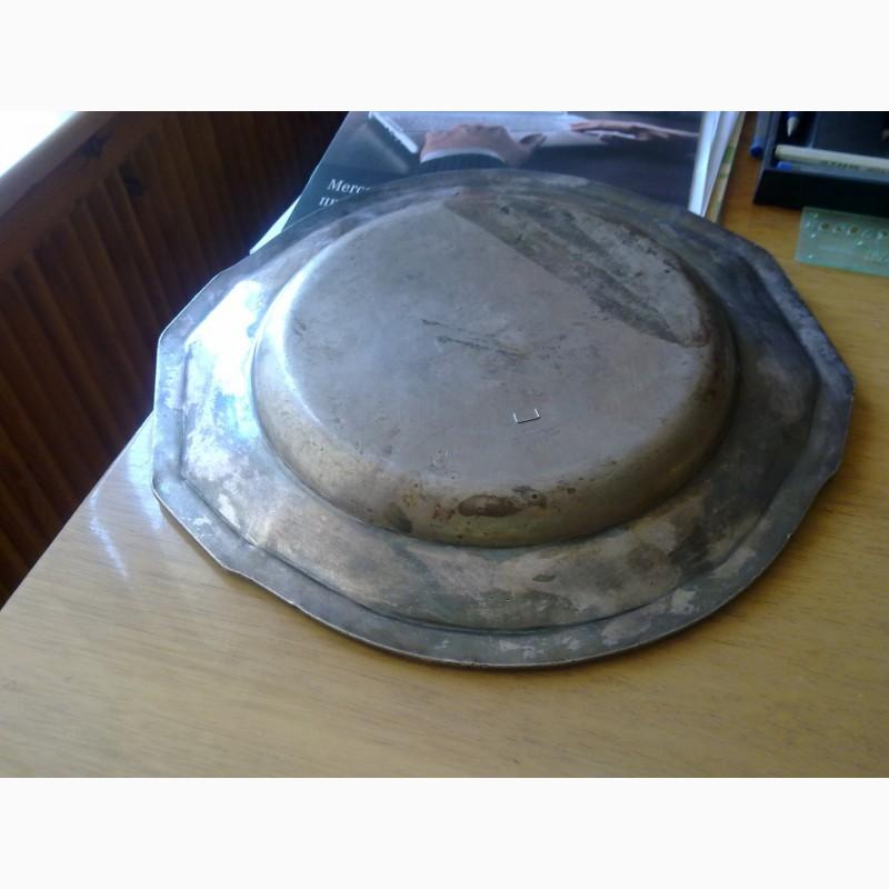Фото 3. Тарелка металлическая, немецкая с вензелем, выбит штамп завода. 1914 г