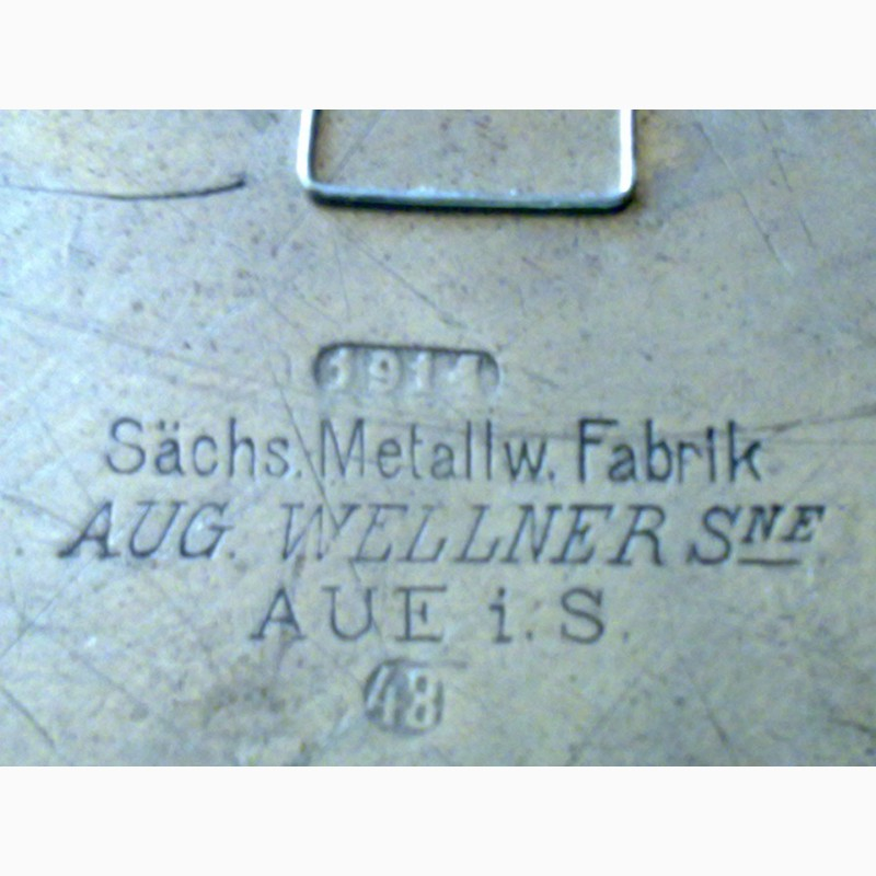 Фото 4. Тарелка металлическая, немецкая с вензелем, выбит штамп завода. 1914 г