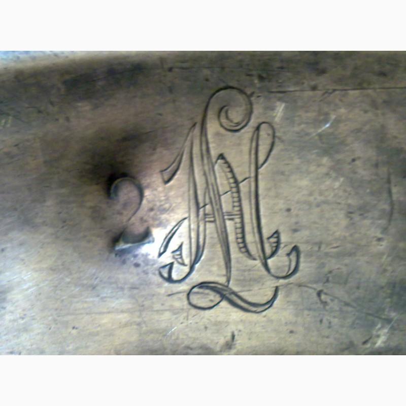 Фото 6. Тарелка металлическая, немецкая с вензелем, выбит штамп завода. 1914 г