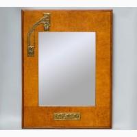 Старинное настенное зеркало в деревянной раме с бронзовыми накладками в стиле Модерн