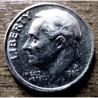 Монета 10 центов 1987 года. США
