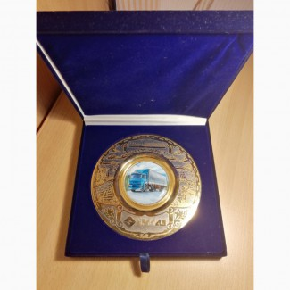 Продам Сувенирную тарелку УралАЗ, золочение, финифть