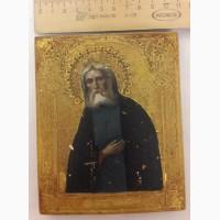 Икона Серафим Саровский, на золоте, 19 век