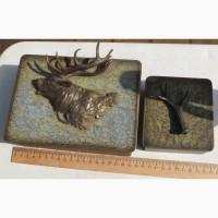 Шкатулки охотничья тематика, бронза, дерево, начало 20го века