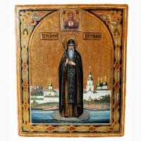 Продается Икона Св. преподобный Антоний Римлянин, Новгородский конец XIX века