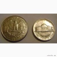 Продам монеты перевертыш: quarter dollar, liberty 1995 и unitet states of amerika 1987