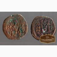 Византийская монета Юстин II и София. Фоллис 7 век пр. 575 год., Калининград