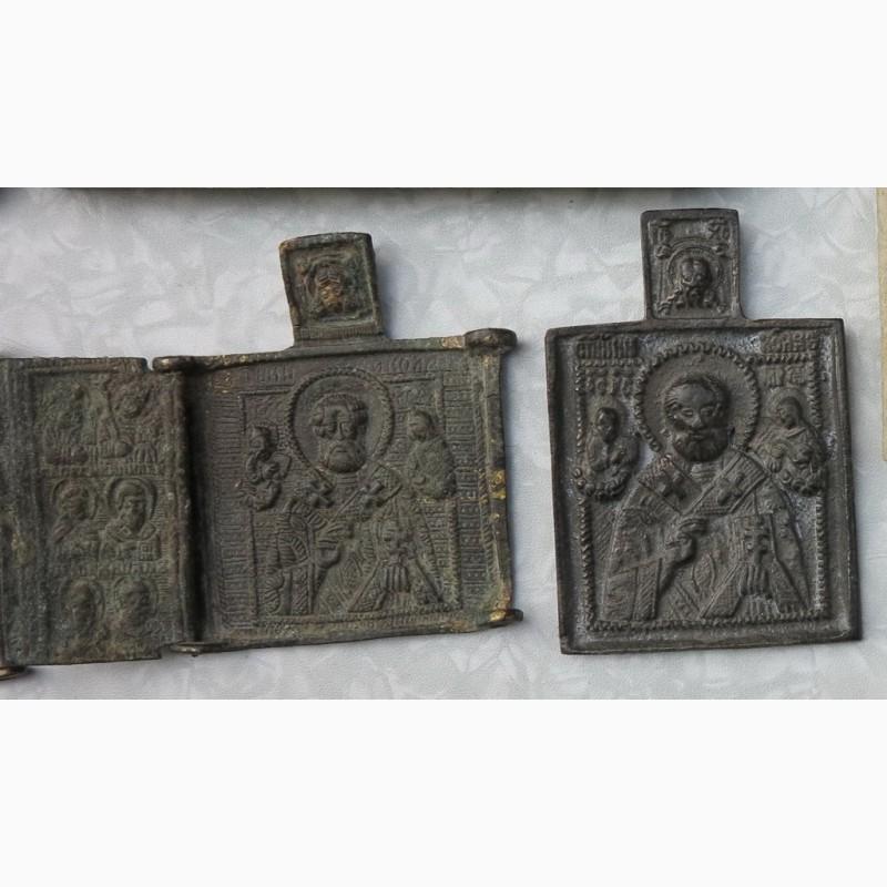 Фото 2. Нательные латунные иконы, 18 век