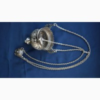 Лампада церковная серебряная, украшенная гравировкой и резьбой. Москва, 1890-е гг
