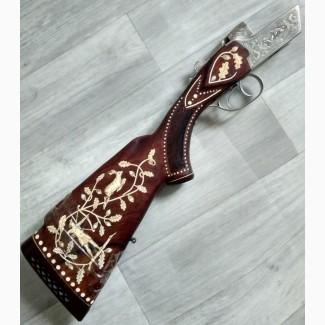 Приклад ружья инкрустированный бивнем мамонта