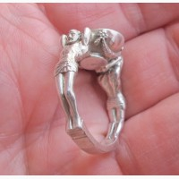 Серебряный перстень Атланты, серебро 925 проба, пейзажный агат
