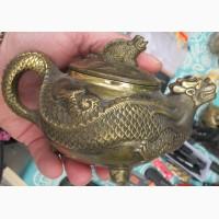 Китайский бронзовый заварной чайник Дракон