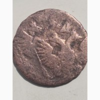 Монета деньга 1740 г.двойной удар штампа, соударение- два орла