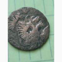 Брак монеты, деньга 1746 г., сдвиг штампа, соударение- два орла